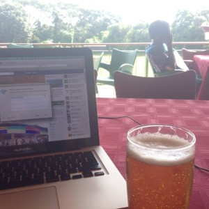 Sitting down to some Sunday work in Blantyre